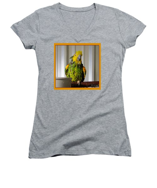 Women's V-Neck T-Shirt (Junior Cut) featuring the photograph After The Bath by Victoria Harrington