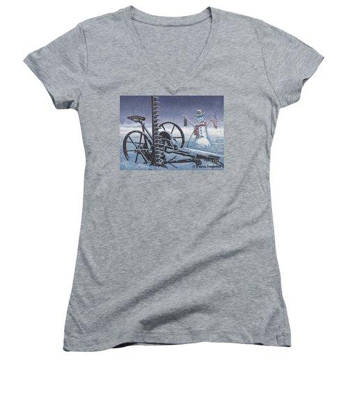 After The Harvest Snowman Women's V-Neck T-Shirt (Junior Cut) by John Stephens