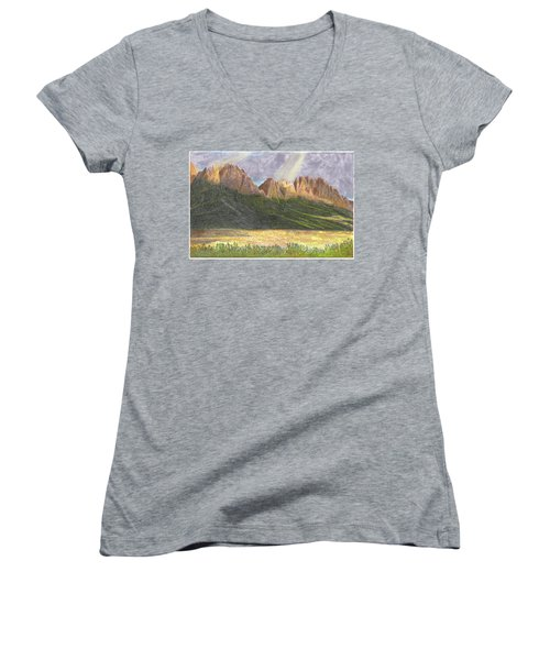 Women's V-Neck T-Shirt (Junior Cut) featuring the painting After The Monsoon Organ Mountains by Jack Pumphrey