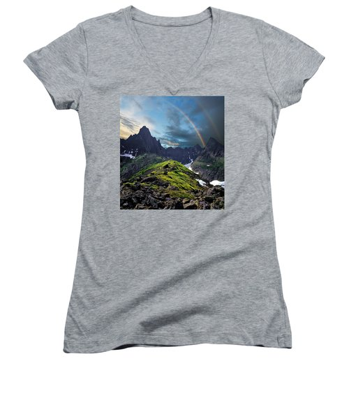 After The Rain Storm Women's V-Neck T-Shirt (Junior Cut)
