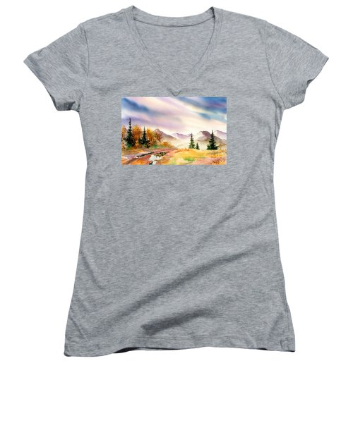 Women's V-Neck T-Shirt (Junior Cut) featuring the painting After The Rain by Teresa Ascone