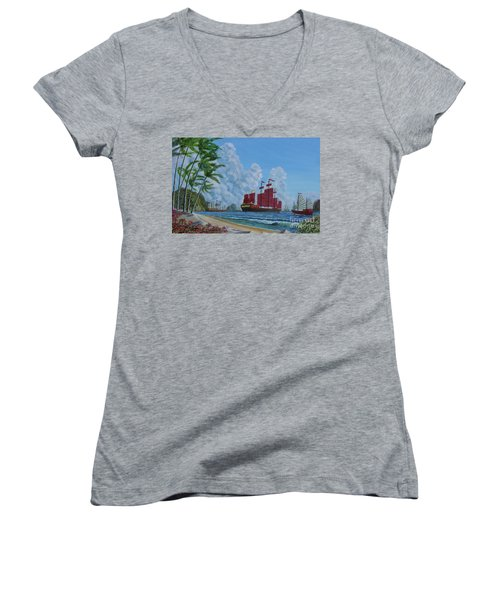 Women's V-Neck T-Shirt (Junior Cut) featuring the painting After The Storm by Anthony Lyon