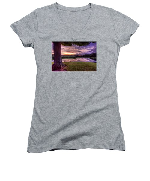 After The Storm At Mapleside Farms Women's V-Neck T-Shirt (Junior Cut) by Brent Durken