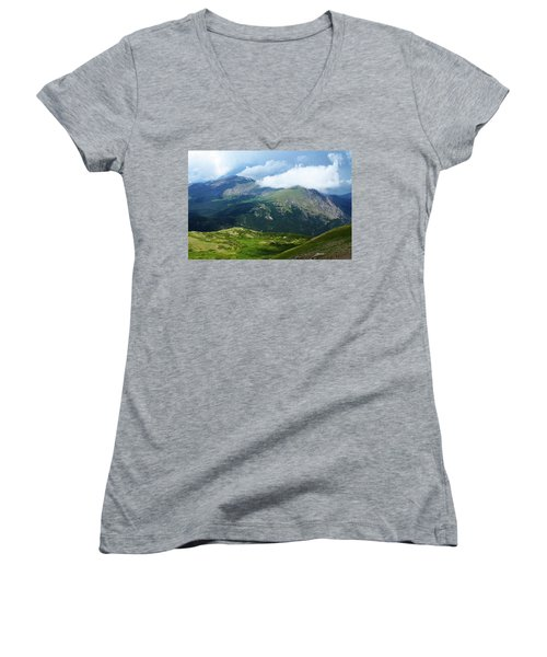 Women's V-Neck T-Shirt (Junior Cut) featuring the photograph After The Storm by Marie Leslie