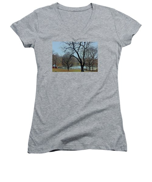 Afternoon In The Park Women's V-Neck T-Shirt (Junior Cut) by Sandy Moulder