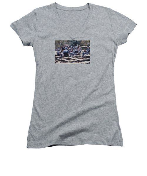 Afternoon Pickers Women's V-Neck T-Shirt (Junior Cut) by Richard Willson