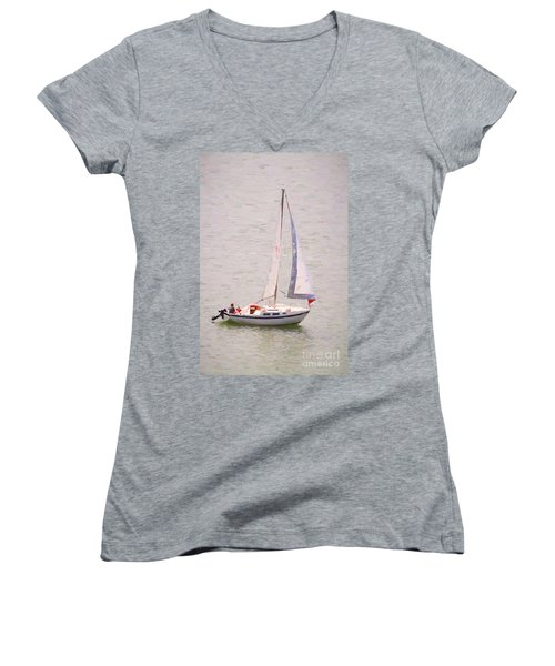 Women's V-Neck featuring the photograph Afternoon Sail by James BO Insogna