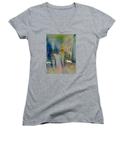 Afternoon Shower In Old San Juan Women's V-Neck T-Shirt