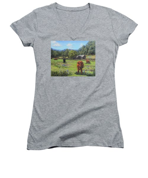Women's V-Neck T-Shirt (Junior Cut) featuring the painting Afternoon Snack by Karen Ilari