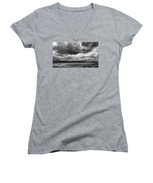 Women's V-Neck T-Shirt (Junior Cut) featuring the photograph Afternoon Storm Couds by Monte Stevens