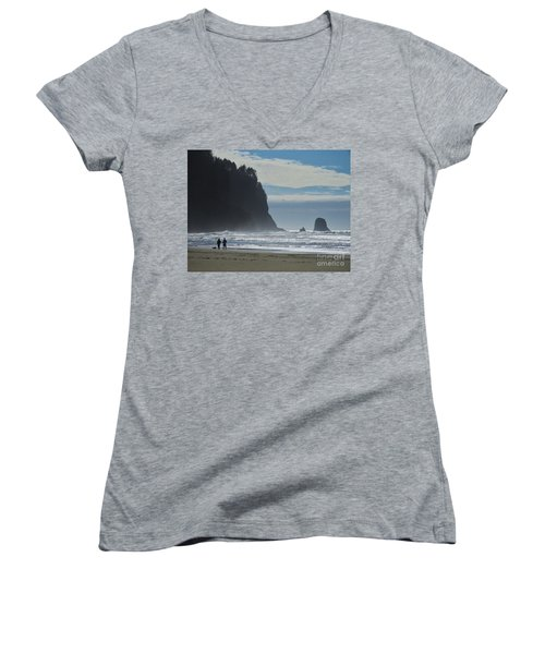 Cape Meares Women's V-Neck T-Shirt (Junior Cut) by Michele Penner