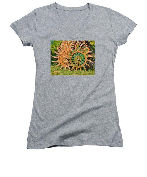 Women's V-Neck T-Shirt (Junior Cut) featuring the photograph Ag Machinery Starburst by Trey Foerster