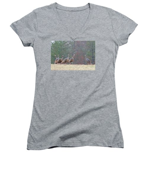 Against The Crowd 1287 Women's V-Neck T-Shirt (Junior Cut) by Michael Peychich