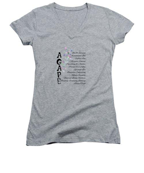 Agape-words Of Love Women's V-Neck T-Shirt