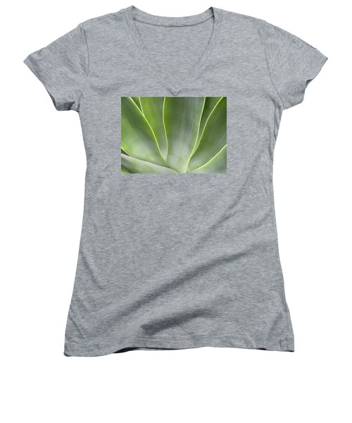 Agave Leaves Women's V-Neck (Athletic Fit)