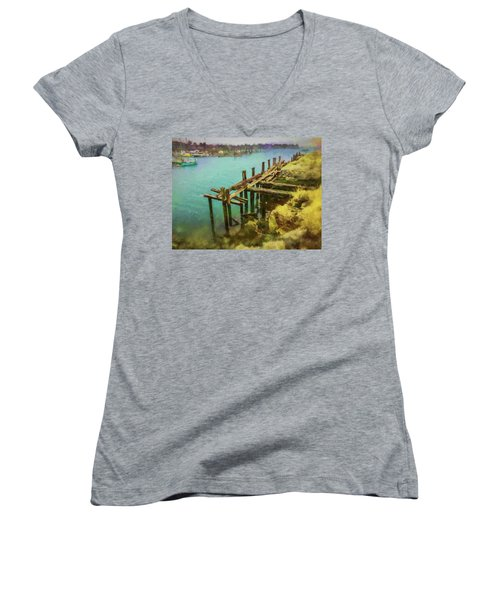 Aged Docks From Winthrop Women's V-Neck (Athletic Fit)