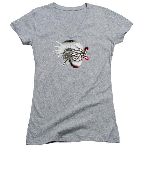 Aggressive Grey Women's V-Neck T-Shirt (Junior Cut) by Anastasiya Malakhova