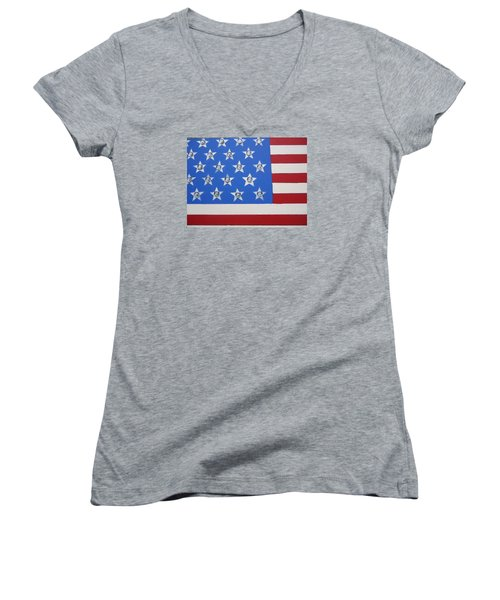 Agitate Women's V-Neck T-Shirt (Junior Cut) by Otis L Stanley