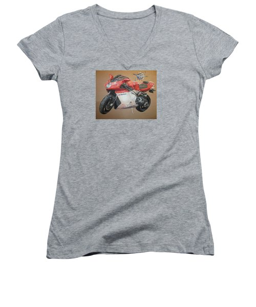 Women's V-Neck T-Shirt (Junior Cut) featuring the painting Agusta by Cherise Foster