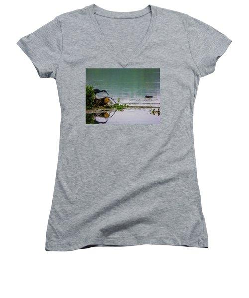 Ah Dubble-dawg Dare Ya Women's V-Neck T-Shirt (Junior Cut) by Kimo Fernandez