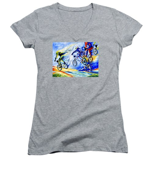 Women's V-Neck T-Shirt featuring the painting Airborne by Hanne Lore Koehler