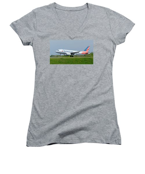 Airbus A319 Women's V-Neck T-Shirt (Junior Cut) by Guy Whiteley
