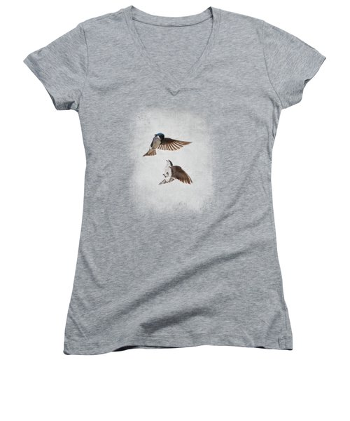 Airobatics - Tree Swallows Women's V-Neck T-Shirt (Junior Cut) by Jai Johnson