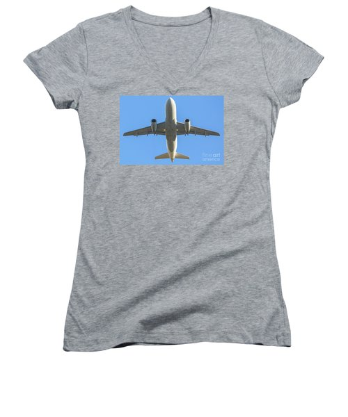 Airplane Isolated In The Sky Women's V-Neck