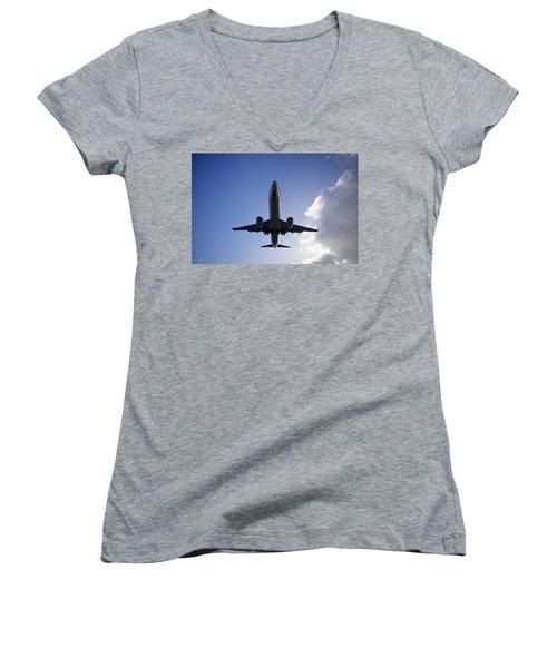 Airplane Landing Women's V-Neck T-Shirt (Junior Cut) by Teemu Tretjakov