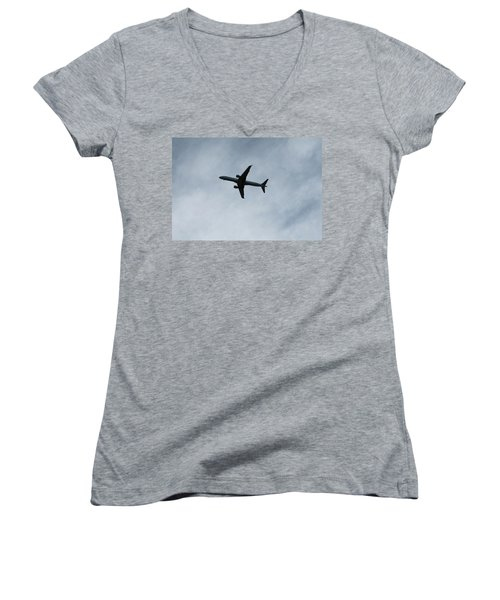 Airplane Silhouette Women's V-Neck