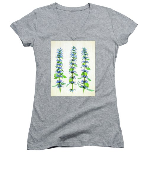 Ajuga Blooms Women's V-Neck T-Shirt (Junior Cut) by Robert FERD Frank