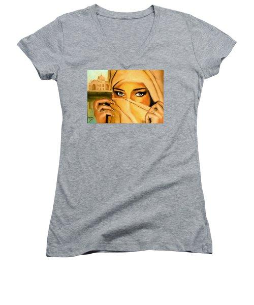 Al-andalus-3 Women's V-Neck T-Shirt (Junior Cut) by Manuel Sanchez