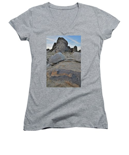 Alabama Hills Boulders At Dusk Women's V-Neck