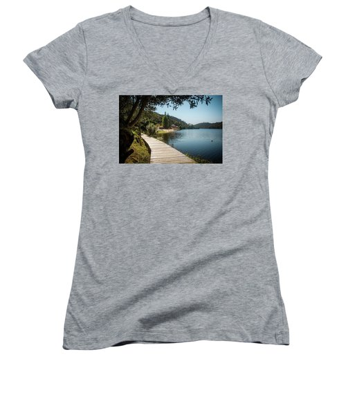 Women's V-Neck T-Shirt (Junior Cut) featuring the photograph Alamal Beach by Carlos Caetano