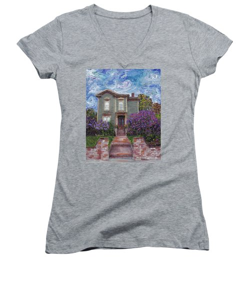 Women's V-Neck T-Shirt (Junior Cut) featuring the painting Alameda 1888 - Italianate by Linda Weinstock