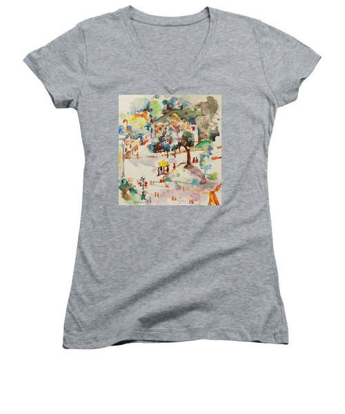 Women's V-Neck T-Shirt (Junior Cut) featuring the painting Alamo From Hotel Window by Becky Kim