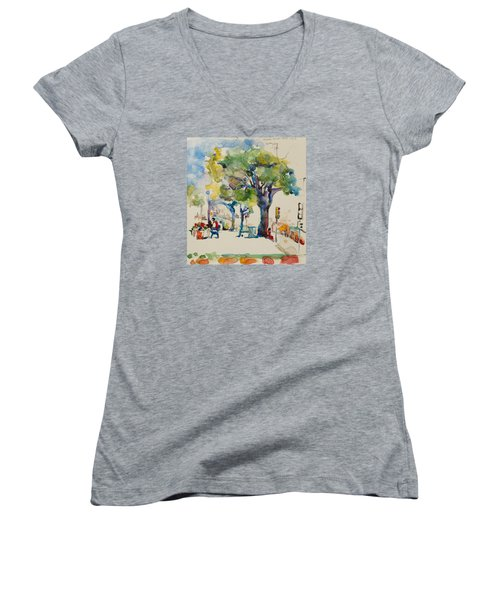 Women's V-Neck T-Shirt (Junior Cut) featuring the painting Alamo Plaza by Becky Kim
