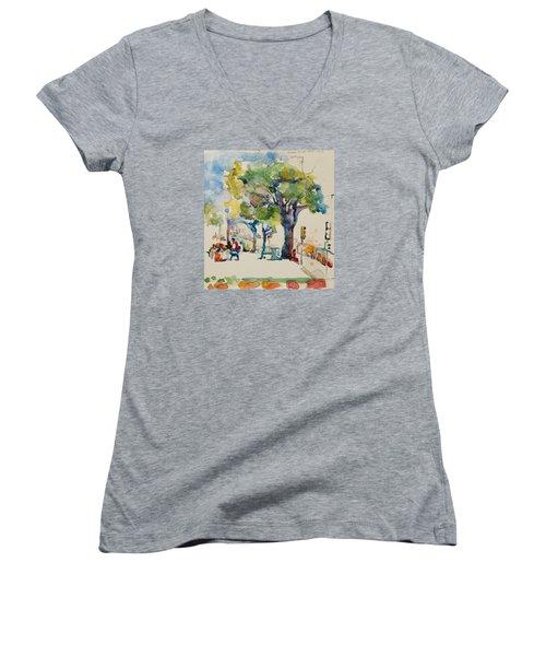 Alamo Plaza Women's V-Neck T-Shirt (Junior Cut) by Becky Kim