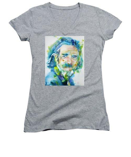 Women's V-Neck T-Shirt (Junior Cut) featuring the painting Alan Watts - Watercolor Portrait.4 by Fabrizio Cassetta