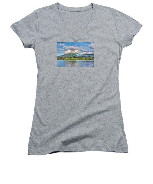 Alaska Morning Women's V-Neck T-Shirt (Junior Cut) by Lewis Mann
