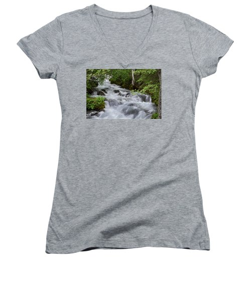 Alaska Waterfall Picture  Women's V-Neck (Athletic Fit)