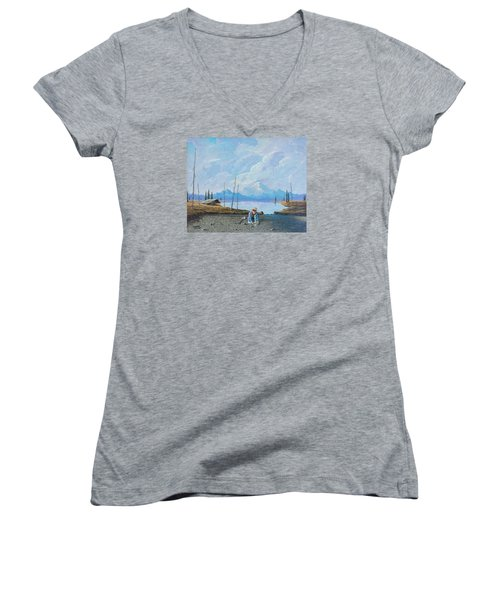 Women's V-Neck T-Shirt (Junior Cut) featuring the painting Alaskan Atm by Richard Faulkner