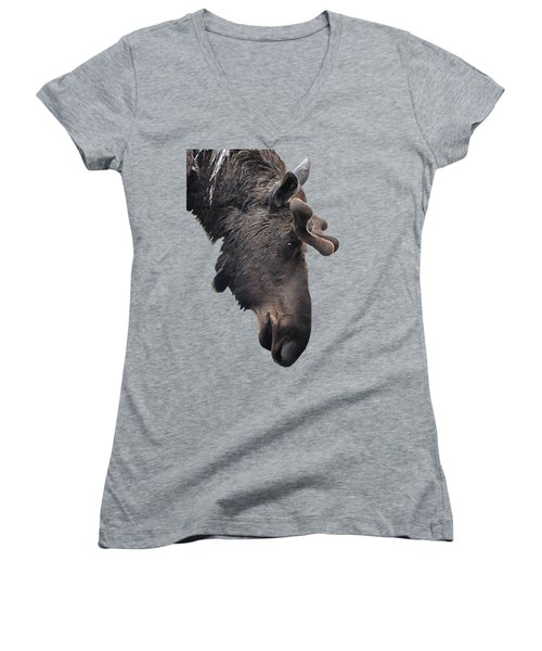 Women's V-Neck T-Shirt (Junior Cut) featuring the painting Alaskan Moose by Diane E Berry