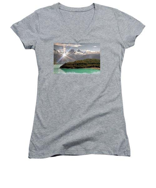 Alaskan Mountain Reflection Women's V-Neck (Athletic Fit)