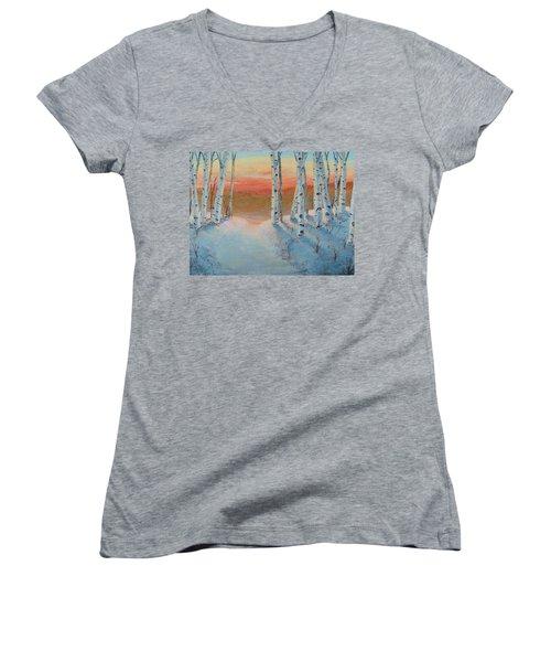 Alaskan Road Women's V-Neck T-Shirt (Junior Cut)