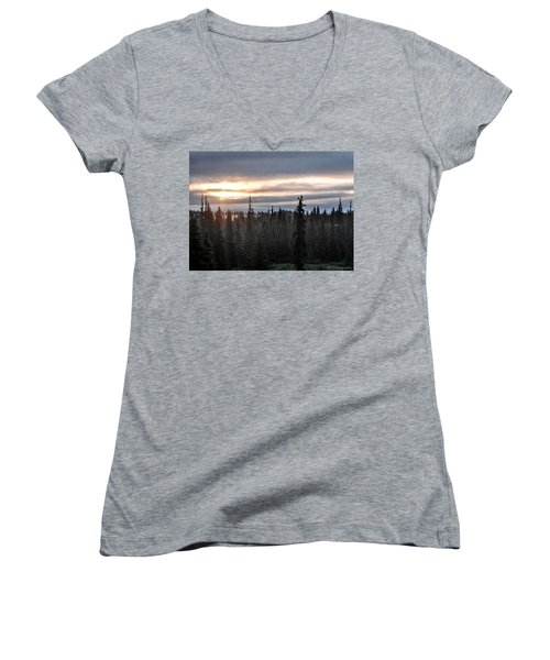 Alaskan Sunset Sunrise Women's V-Neck (Athletic Fit)