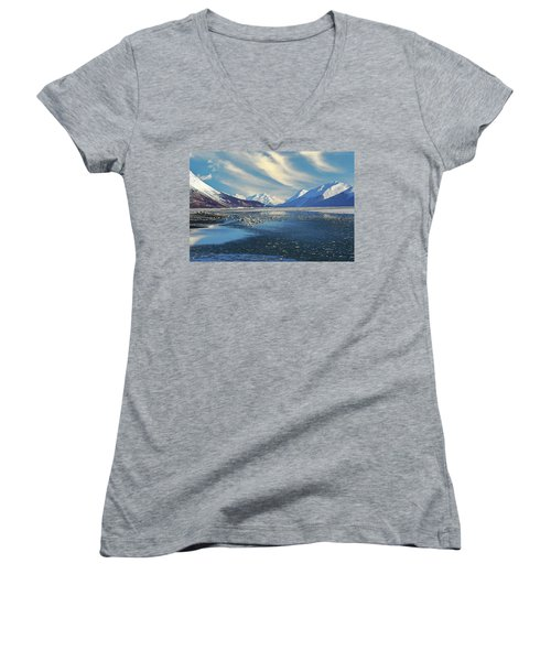 Alaskan Winter Landscape Women's V-Neck (Athletic Fit)