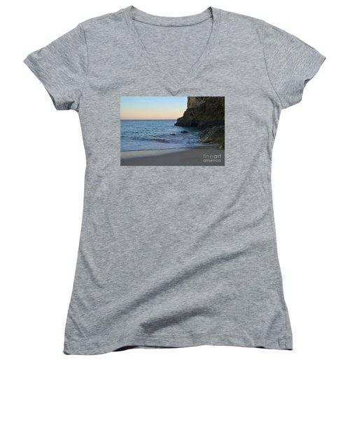 Albandeira Beach Welcoming Twilight 2 Women's V-Neck T-Shirt (Junior Cut) by Angelo DeVal