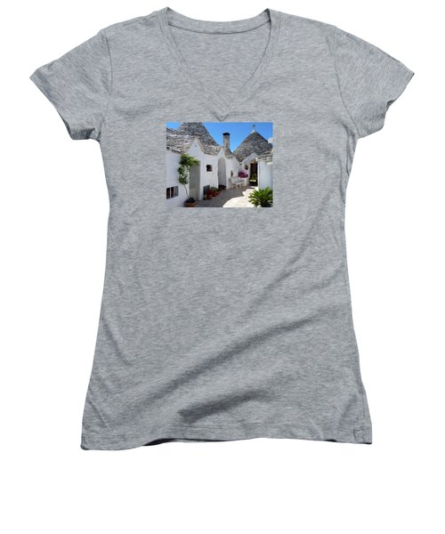 Alberobello Courtyard With Trulli Women's V-Neck (Athletic Fit)