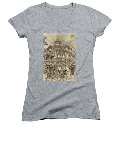 Albert Chamas Villa Women's V-Neck T-Shirt (Junior Cut) by Nigel Fletcher-Jones